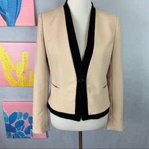 Ann Taylor Cream Single Button Blazer 6